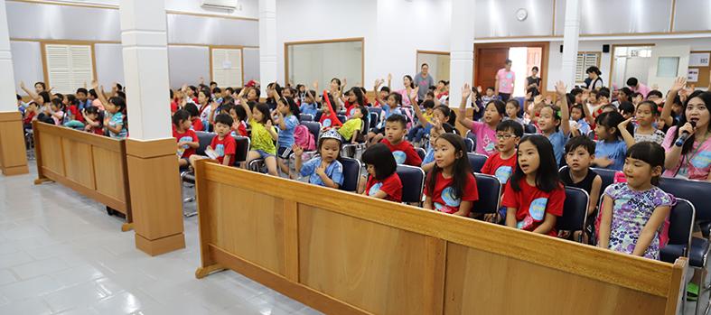▲ 올해 꿈사랑 배움터는 157명의 학생이 참가했고 프놈펜 선린교회에서 진행했다.