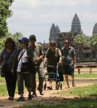 Asain tourism come to visit Angkor Temple