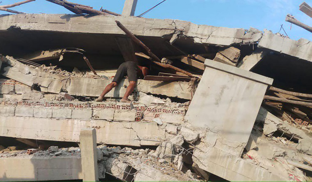 A seven-storey building collapsed in Kep province