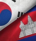 Cambodia and South Korea two flags together textile cloth, fabric texture