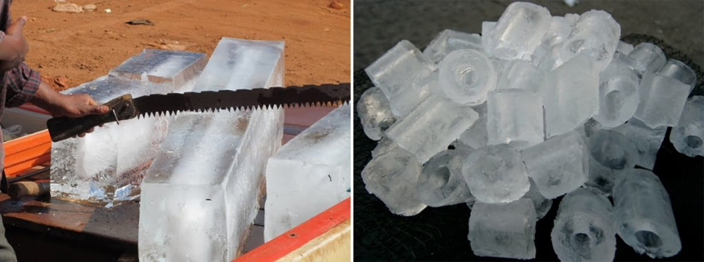비위생 얼음과 위생 얼음