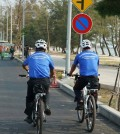 Preah Sihanouk police deploy bicycles to patrol along the beach. Police