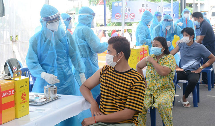 Cambodians being vaccinated against COVID-19. Khmer Times