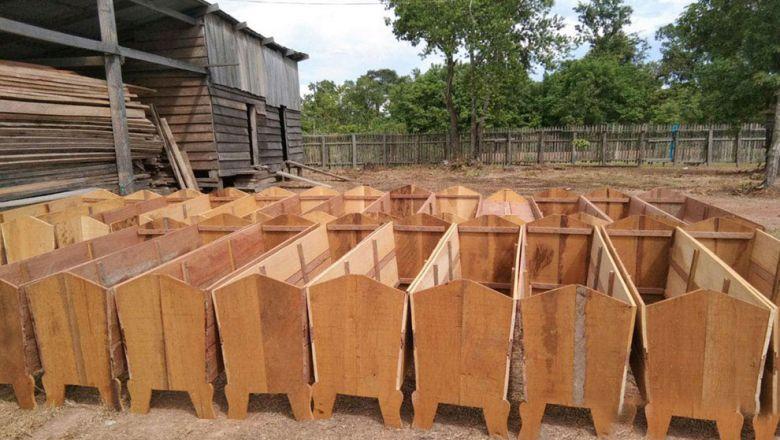 불법벌목으로 압수된 목재가 코로나19 사망자용 관으로 제작되고 있다