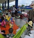 캄보디아 포이펫 지역 홍수 피해 이재민 대피소